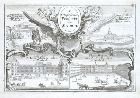 IV. Unterschiedene Prospect von Madrid - Antique map