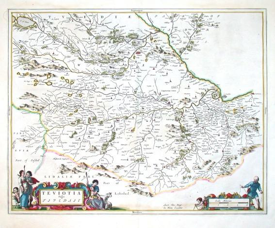 Teviotia Vulgo Tivedail - Alte Landkarte