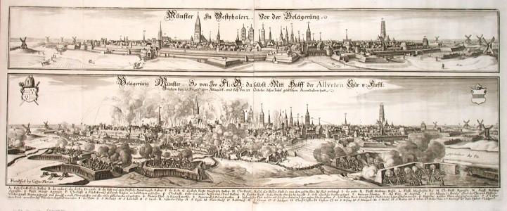 Münster in Westphalen. Vor der Belägerung. - Belägerung Münster. - Alte Landkarte