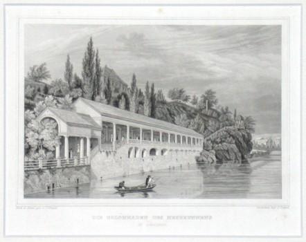 Die Colonnaden des Neubrunnens in Carlsbad - Alte Landkarte