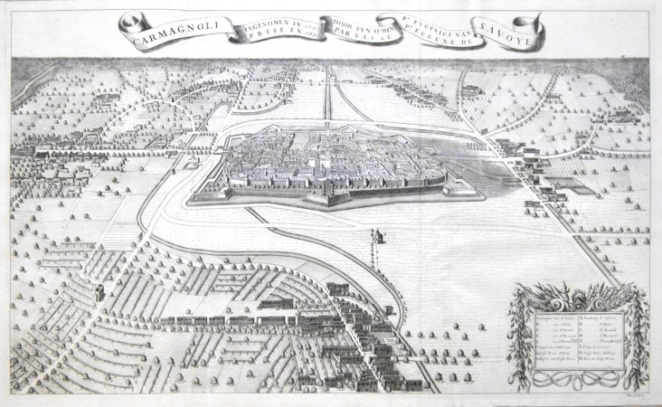 Carmagnoli ingenomen in 1609 door  Pr. Eugenius van Savoye - Alte Landkarte