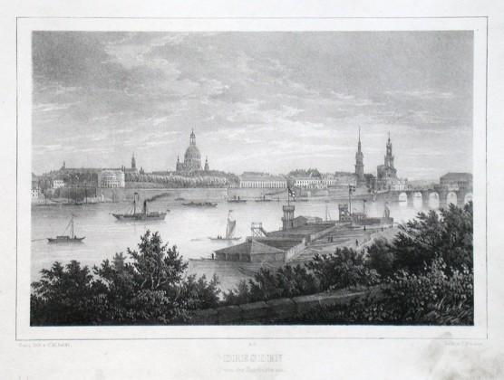 Dresden von der Bairbastei aus - Alte Landkarte