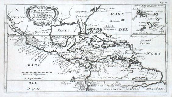 Tabula Regionum in America Media Sitarum. Land Karte des Mittlern theils von America - Alte Landkarte