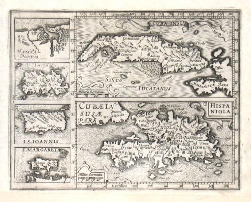 Cuba Insul., Hispaniola, Havana Portus - Stará mapa