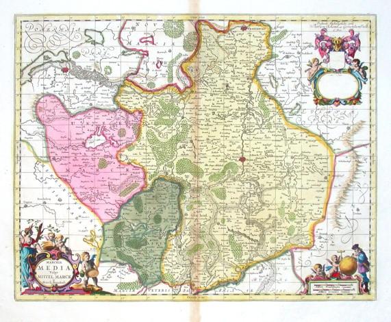 Marchia Media Vulgo Mittel Marck in March: Brandenb: - Alte Landkarte