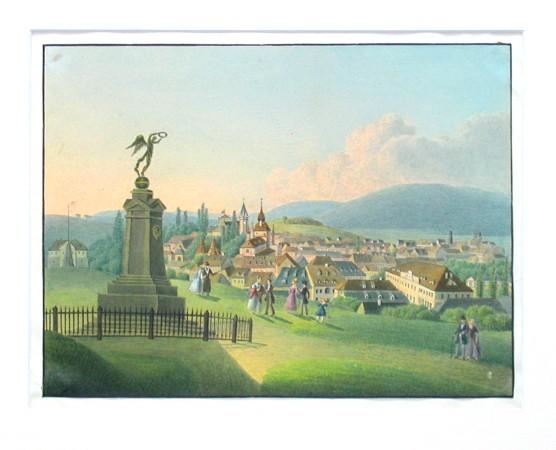 Pohled na Teplice ze Špitálského vrchu - Stará mapa
