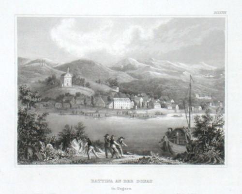 Battina an der Donau in Ungarn - Alte Landkarte