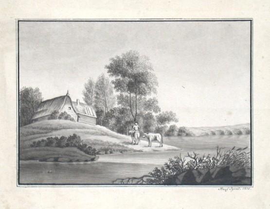 Krajina s domem u jezera