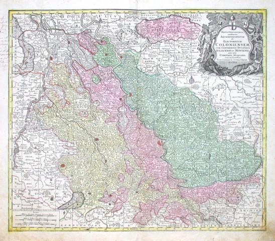Mappa geographica, continens  Electoratum Coloniensem - Alte Landkarte
