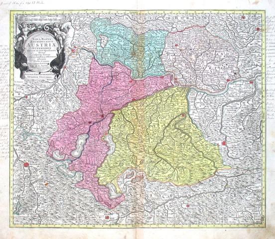 Nova Mappa Archiducatus Austriae Superioris - Stará mapa