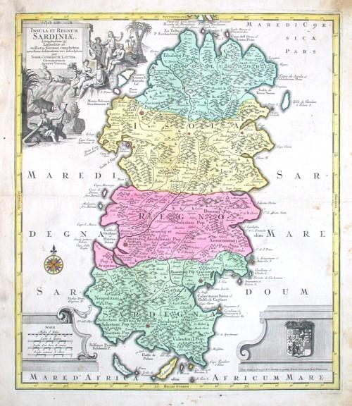 Insula et Regnum Sardiniae - Stará mapa