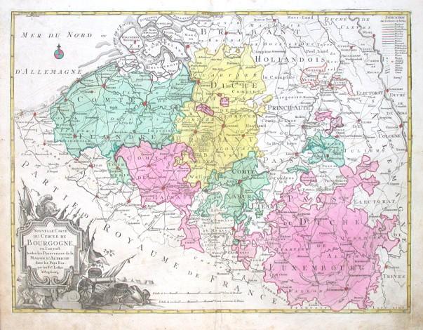 Nouvelle Carte du Cercle de Bourgogne - Alte Landkarte