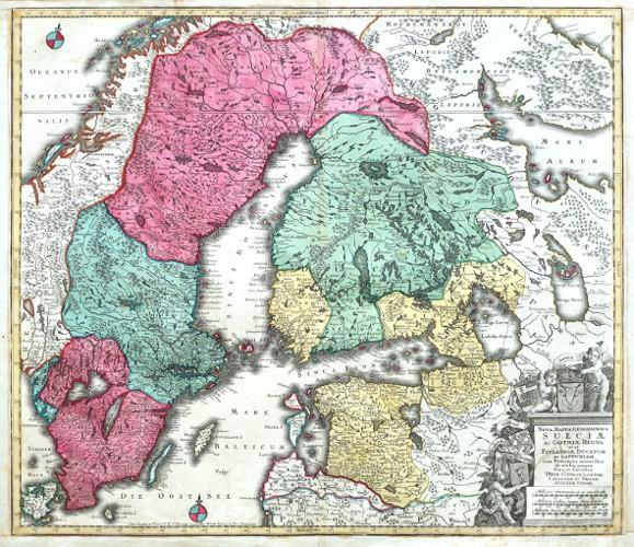 Nova Mappa Geographica Sueciae ac Gothiae Regna - Stará mapa