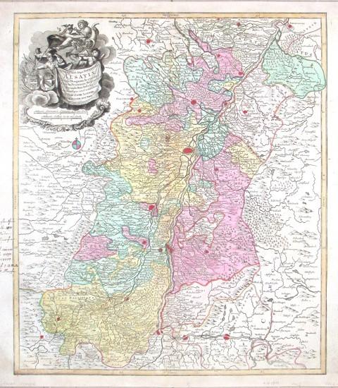 Superioris Atque Inferioris Alsatiae Tabula - Alte Landkarte