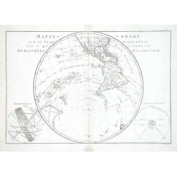 Mappe-monde sur un Plan Horisontal situe a 45. de latitude Sud