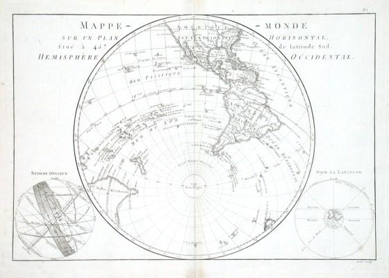 Mappe-monde sur un Plan Horisontal situe a 45. de latitude Sud - Alte Landkarte