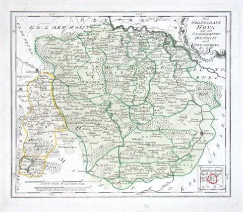 Die Grafschaft Hoya - Alte Landkarte