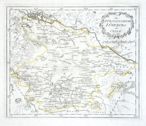 Das Fürstenthum Lüneburg oder Celle - Alte Landkarte