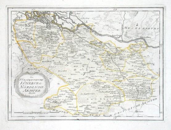 Des Fürstenthums Lüneburg Nördliche Aemter - Alte Landkarte