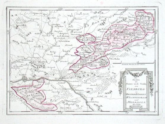 Die Staaten der Fürsten und Grafen von Ysenburg - Alte Landkarte