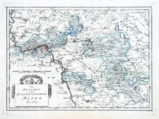 Des Erzstifts und Kurfürstenthums Maynz - Alte Landkarte