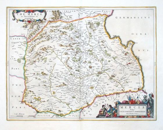 Mercia Vulgo Vicecomitatvs Bervicensis - Alte Landkarte
