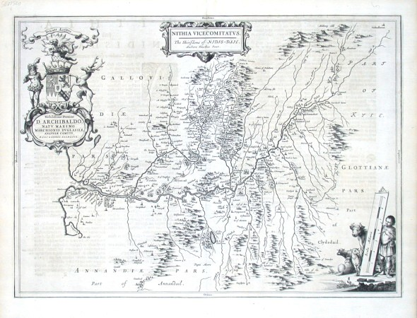 Nithia Vicecomitatus - Alte Landkarte
