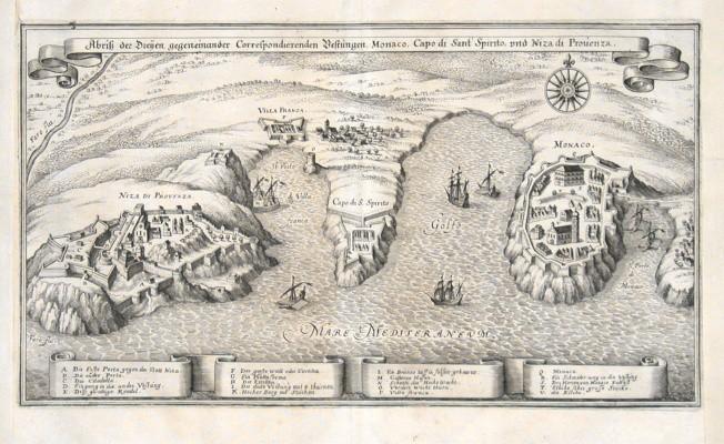 Abriss der Dreijen  Vestungen Monaco, Capo di Sant Spirito und Niza di Provenza