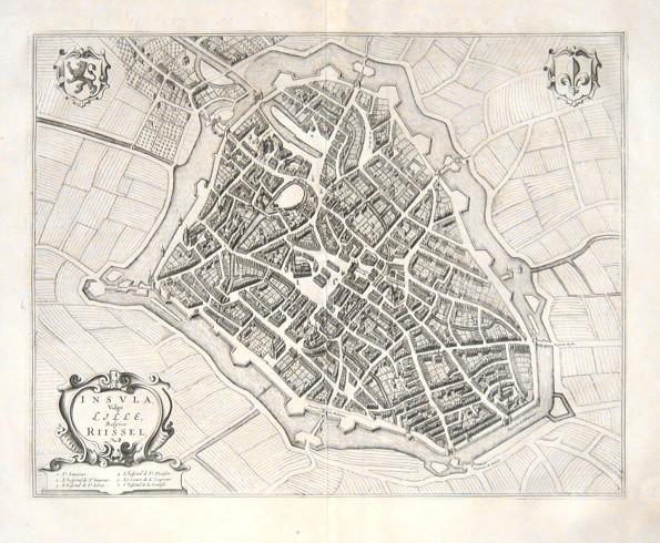 Insvla, Vulgo Lille, Belgice Riisel - Alte Landkarte