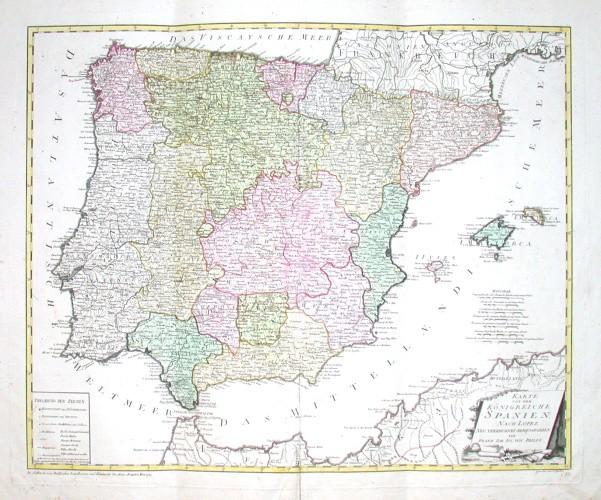 Karte von dem Königreiche Spanien - Alte Landkarte