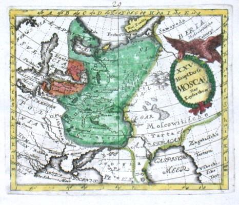 XXV. HauptKarte Moscau. Das Keyserthum - Alte Landkarte