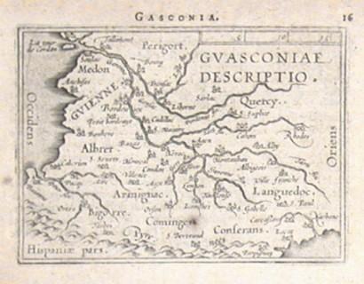 France - Guasconiae descriptio - Antique map