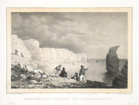 Helgoland mit Junggatt und Moermersgatt - Alte Landkarte