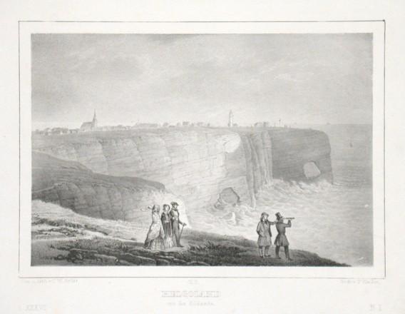 Helgoland von der Südseite - Alte Landkarte