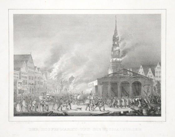 Der Hopfenmarkt und die Nicolaikirche in Flammen - Alte Landkarte