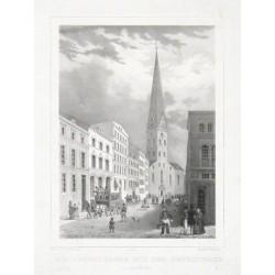 Die Bergstrasse mit der Petrikirche vor dem Brande