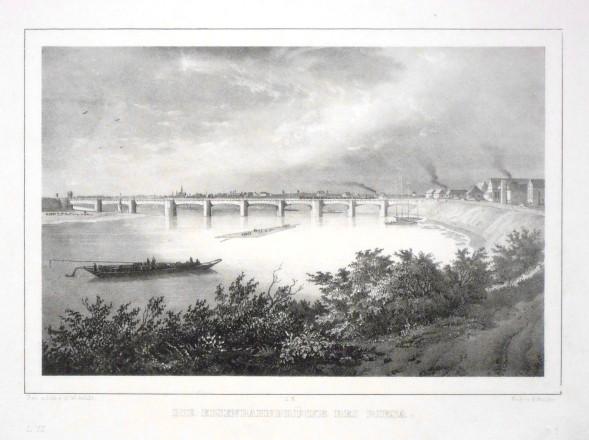 Die Eisenbahnbrücke bei Riesa - Alte Landkarte