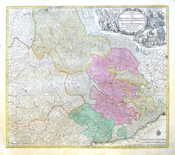 Savoy, Piedmont, Alps - Regiae  in quo Ducatus Sabaudiae, Principat. Pedemontium ut et Ducatus Montisferrati - Antique map