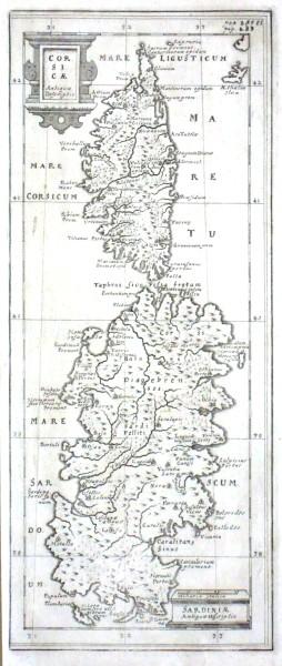 Corsicae Antiquae Descriptio. Sardiniae Antiquae Descriptio - Alte Landkarte