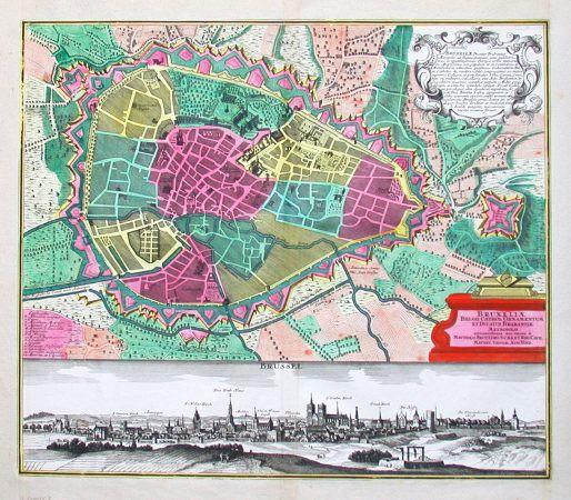 Brüssel - Bruxeliae Belgii cathol. ornamentum et ducatus Brabantiae metropolis. - Alte Landkarte