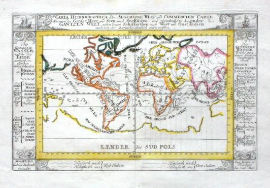 Carta Hydrohraphica oder Algemeine Welt und Commercien Carte - Alte Landkarte