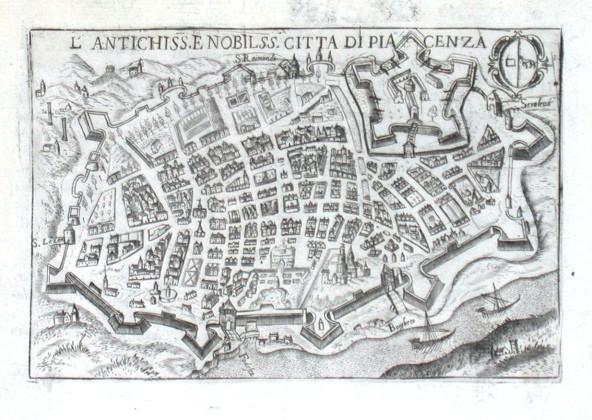 L'antichiss. e nobilss. citta di Piacenza - Alte Landkarte