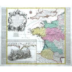 Die durch die Engllaender beunruhigte Franzözische Küsten Ao. 1758