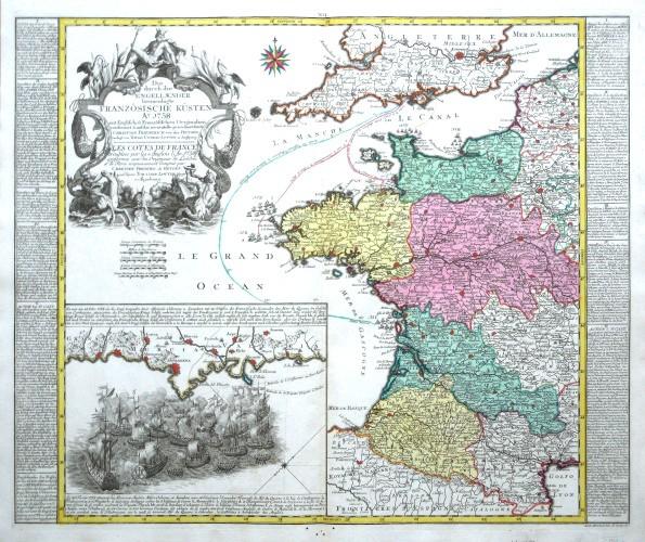 Die durch die Engllaender beunruhigte Franzözische Küsten Ao. 1758 - Alte Landkarte