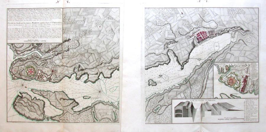 Plan de la Ville et du Port Mahon et du Fort St. Philippe - Alte Landkarte