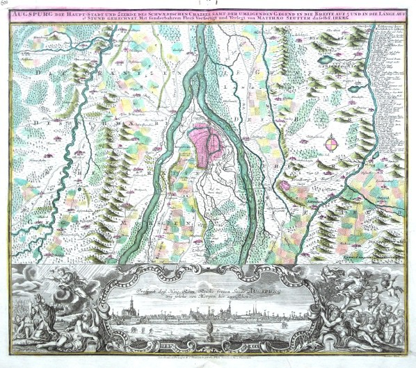 Augspurg die Haupt-Stadt  des Schwaebischen Craises - Stará mapa