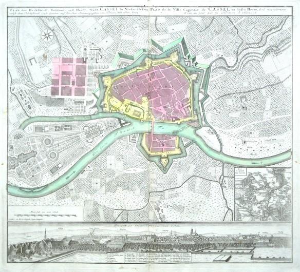 Plan der Hochfürstl. Residenz- und Haubt- Stadt Cassel in Nieder-Hesen - Alte Landkarte