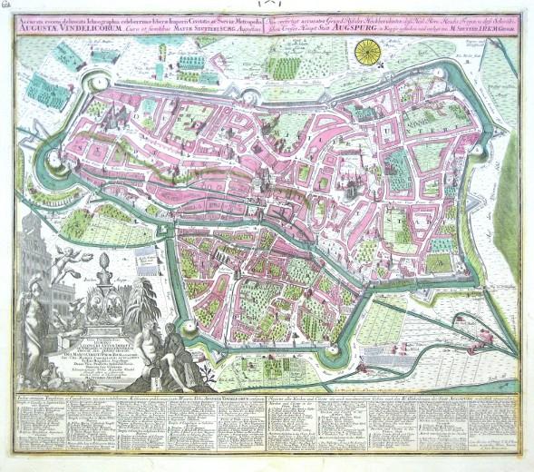 Augsburg - Accurata recens delineata  Augustae Vindelicorum - Neu verfertigt accurater GrundRiss der Statt Augspurg - Stará mapa