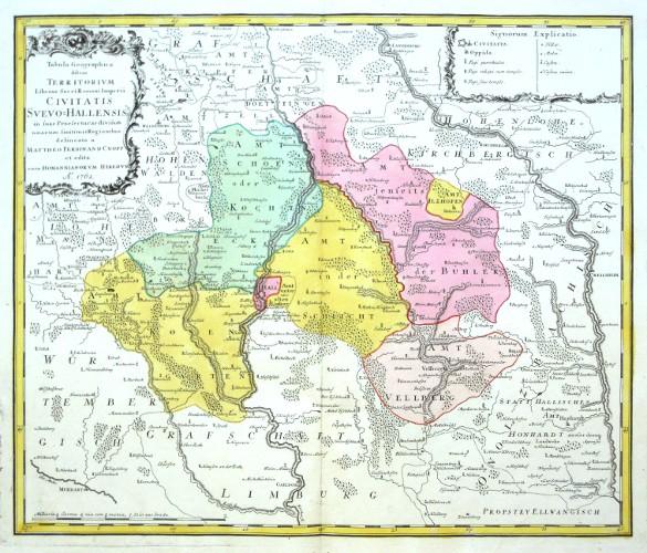 Tabula Geographica  Civitatis Svevo-Hallensis - Alte Landkarte