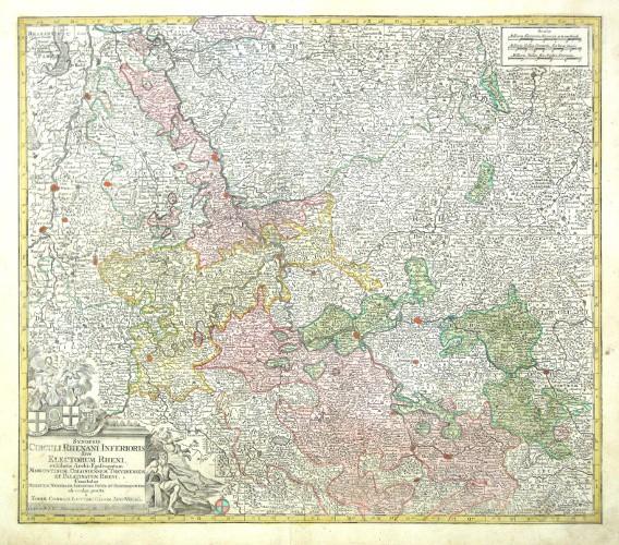 Synopsis Rhenani Inferioris, Sive Electorum Rheni - Alte Landkarte